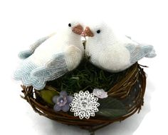 Dove Wedding Cake Topper Beaded Love Bird Couple by MeredithDada, $190.00