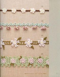 Crochet flower motif pattern crochet edging by LibraryPatterns Crochet Books, Love Crochet, Crochet Trim, Crochet Motif, Beautiful Crochet, Easy Crochet, Crochet Lace, Crochet Stitches, Crochet Edgings