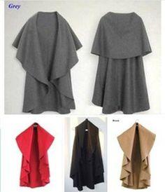 Long Cape Coats for Women | 2013 Women New Woolen Coat Cape Loose Poncho Long Jacket Cardigan ...