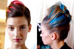 """This look is very punk meets Audrey Hepburn from """"Breakfast at Tiffany's."""" Get-the-look with color-streaked #hairextensions and put it up in a sky-high French twist."""