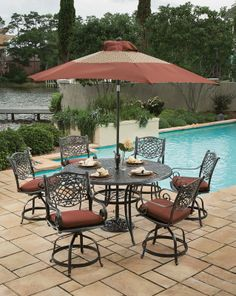 Award-Winning Home Decor, Outdoor Furniture, Garden Center and Nursery - Down to Earth Living Contemporary Dining Sets, 7 Piece Dining Set, Nebraska Furniture Mart, Patio Dining, Outdoor Furniture, Outdoor Decor, Beautiful Homes, Outdoor Living, Living Spaces