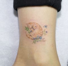 Tiny Cat Tattoo on Ankle by Sol Art