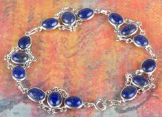 Silver Pendants – Solid Lapis Lazuli Gems Silver Bracelet BJB-118-LP – a unique…