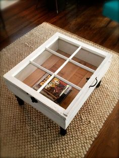 Old wood windows make perfect coffee tables.