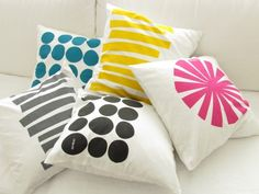 Kissen-Hüllen mit buntem geometrischen Print // cushion covers with geometrical print by art4life via dawanda.com
