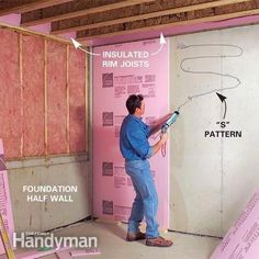 How to Finish a Basement: Framing and Insulating Insulating Basement Walls, Framing Basement Walls, Basement Insulation, Basement Flooring, Basement Ceilings, Wall Insulation, Flooring Ideas, Basement Ventilation, Polystyrene Insulation