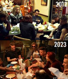 The Avengers eating together. 2012 and 2023