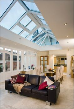 This orangery in Stafford features Pilkington Activ™ Blue incorporating both Self-cleaning and Solar-control properties. Conservatory, Solar, Ceiling Lights, Lighting, House, Christian, Cleaning, Home Decor, Ideas