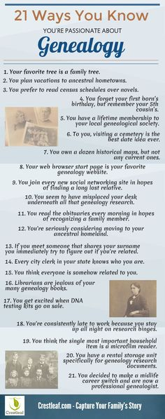 21 Ways to Know You're Passionate About Genealogy #Infographic #genealogy #familyhistory