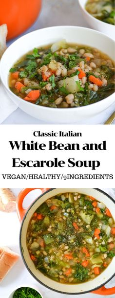 White Bean and Escarole Soup is an Italian Classic for a good reason. Its gluten-free, hearty, nourishing and easy to make. Its full of plant-based protein from the white beans and plenty of veggies. This one pot meal only requires 30 minutes and 9 basic vegan ingredients! #vegan #soup #onepotmeal #glutenfree #glutenfreedinner #vegansoup #souprecipes #30minutedinner #whitebeanandescarole #italianrecipes #veganitalian #italianclassics #whitebeansoup #easydinner #vegandinner #bestveganrecipes