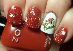 Santa Nail decal with Zoya Dominique and Jindie Nails Just Elfin' Around