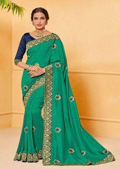 Aasvaa Fashion Jute Art Silk Embroidery Work Saree in Green Jute Silk Saree, Raw Silk Saree, Green Silk, Teal Green, Navy Blue, Green Saree, Work Sarees, Party Wear Sarees, Embroidered Silk