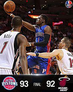 Pistons outlast Heat, 93-92.  Detroit has won 5 of last 6.  Reggie Jackson: 18 Pts.  Drummond: 11 Pts, 12 Reb.  12/22/2015