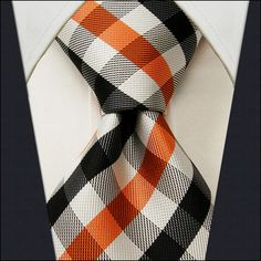 Orange men's ties | Home / Products / Checked Orange Black White Men's Tie