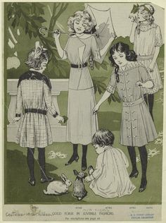 1912 children's fashions. Cut out to make dolls.