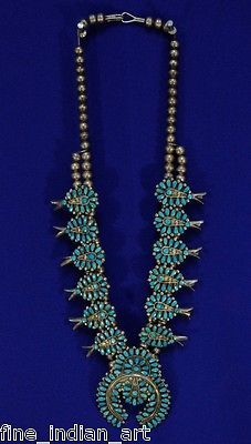 Navajo / Zuni Squash Blossom Necklace 1970 - Cluster Style - Natural Turquoise