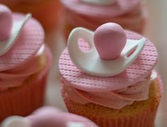 Vanilla Strawberry - Baby Shower Cupcakes