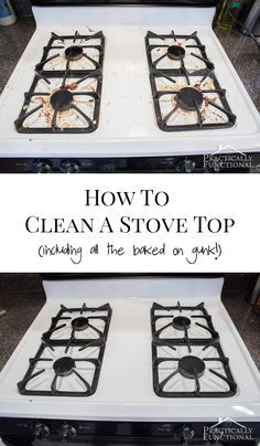 How To Really Clean A Stove Top (Even All The Baked On Gunk!) How To Really Clean A Stove Top – looks brand new again with just two common household ingredients, even the cooked on gunk comes off! Household Cleaning Tips, Toilet Cleaning, Cleaning Recipes, House Cleaning Tips, Deep Cleaning, Cleaning Hacks, Kitchen Cleaning, Cleaning Appliances, Cleaning Stove Burners