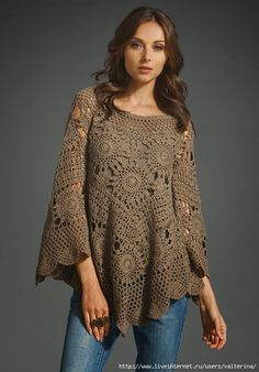 Irish crochet &: Очень эффектная туника мотивами