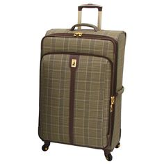 London Fog Westminster Camel Plaid 29-inch Expandable Spinner Upright Suitcase