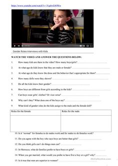 Gender Roles List Of Questions, This Or That Questions, Back To School, High School, Gender Roles, Fun At Work, Teaching English, Girl Scouts, Teacher