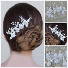 Hair Comes the Bride - Rhinestone and Pearl Silk Flower Hair Comb ~ Aster, $58.00 (http://www.haircomesthebride.com/rhinestone-and-pearl-silk-flower-hair-comb-aster/)