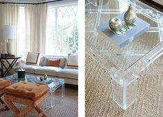 Tudor revival with lucite coffee table #interiors