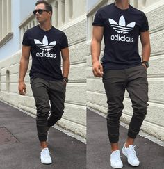 Classic hip but simple. Joggers Adidas shoes Adidas shirt completes this hip - Mens Shirts Casual - Ideas of Mens Shirts Casual - Classic hip but simple. Joggers Adidas shoes Adidas shirt completes this hip cool street style look. Mode Outfits, Casual Outfits, Men Casual, Summer Outfits, Casual Wear, Casual Shoes, Fashionable Outfits, Urban Outfits, Formal Shoes
