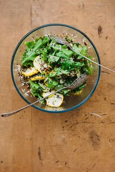 Zucchini, Quinoa, and Arugula Salad with Lemon, Mint, and Chili —fresh, fast, and light, plus it's a great way to use up a surplus of zucchini, via @emmagalloway