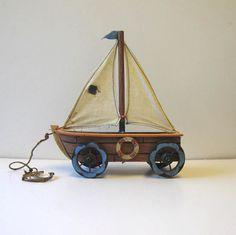 Vintage Wood Pull Toy, Sail boat, Beach Cottage Decor via Etsy