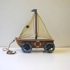 Vintage Wood Pull Toy, Sail boat, Beach Cottage Decor via Etsy