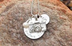 Camera Necklace - Capture life hand stamped necklace with camera charm, pearl and initial charm via Etsy