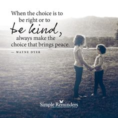 When the choice is to be right or to be kind, always make the choice that brings peace. — Wayne Dyer
