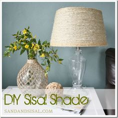 DIY Sisal Shade. Could also use 4ply natural jute from hobby lobby for $3. Need to do this to my dated floor lamp. Spraypaint the base, too!