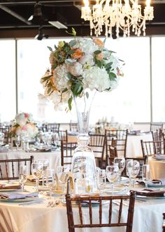 MMJ Events, Ivory Room, Columbus Ohio, Wedding, Tall Centerpieces, peach green white blush pink, glamorous, flower wall