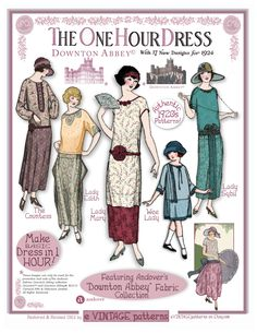 Our Downton Abbey fabrics will be available in stores in just a month! In the meantime, get inspired with these simple 1920's vintage dress patterns. Click on the picture to get them.