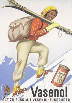 Vasenol. Gut zu Fuß mit Vaseno-Fußpuder. Foot Powder. Hermès, Eric ca 1930