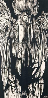 Angel of Death    1959 Leonard Baskin Born: New Brunswick, New Jersey 1922 Died: Northampton, Massachusetts 2000 woodcut on paper image: 61 1/4 x 30 1/4 in. (155.6 x 76.8 cm)