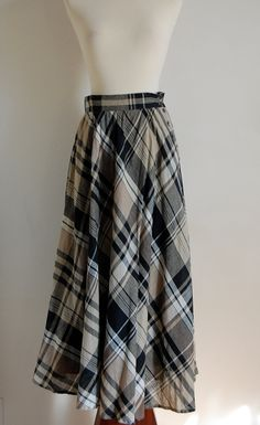 1980s Liz Claiborne plaid maxi skirt