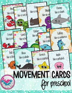 These ocean animals themed movement cards will keep your students active while they're excited for the weather to warm up! Keep those excited little ones busy indoors when it's too rainy to go outside! All while teaching them about different actions, anim Preschool Music, Preschool Themes, Preschool Classroom, Kindergarten, Future Classroom, Beach Theme Preschool, Preschool Plans, Free Preschool, Gross Motor Activities