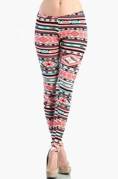 LoveMelrose.com From Harry & Molly | Aztec Leggings - Coral / Mint