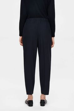 COS image 8 of Trousers with gathered waistline in Navy