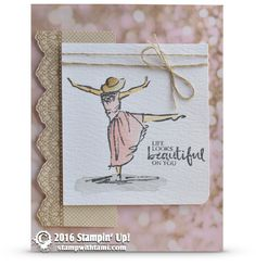 CARD This gorgeous card made it's debut on Tuesday's Stampin Scoop Show (Episode 25). Created with the new Beautiful You stamp set that is coming out in the 2017 Occasions Catalog. The lace image is f