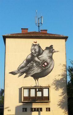 Street Art in Ljubljana, Slovenia. Best Street Art, 3d Street Art, Street Art Graffiti, Slovenia, Urban Art, Croatia, Illusions, Sculptures, Gras