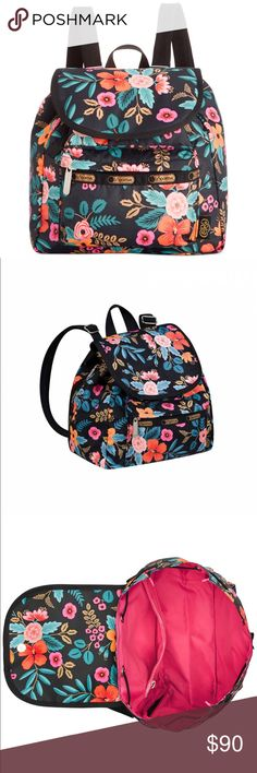 """🎉HP🎉 Lesportsac Rifle Paper Small Edie Backpack RARE, Adorable Lesportsac Rifle Paper Co Small Edie Backpack. In the fabulous Marion Floral print from Rifle Paper Co!! This backpack is perfect for commuting in style! I'm obsessed with it!! SO CUTE! Width: 9.5"""". Height: 11.5"""". Shoulder drop: 16.5"""" 100% Nylon. Top flap with hidden magnetic snap closure. Side zipper for main compartment access. Exterior front pockets with Zip closure. LeSportsac Bags Backpacks"""