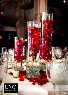 #red flower centerpiece