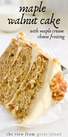 Maple Walnut Cake with Maple Cream Cheese Frosting~this surprisingly easy three layer maple cake is the ultimate fall dessert! Maple Walnut Cake with Maple Cream Cheese Frosting~this surprisingly easy three layer maple cake is the ultimate fall dessert! Köstliche Desserts, Delicious Desserts, Yummy Food, Desserts For Birthdays, Easy Cream Cheese Desserts, Maple Dessert Recipes, Fall Cake Recipes, Maple Cake, Gateaux Cake