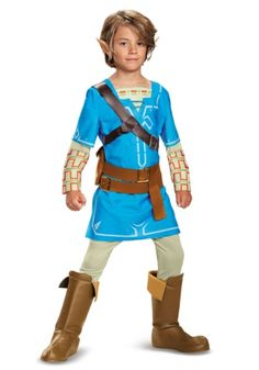 Get this Legend of Zelda Breath of the Wild Link Deluxe Boys Costume to give your child the newest Link look this Halloween.