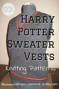 Knitting patterns for several sizes of Harry Potter Sweater Vests in children's and ladies sizes. A quick to knit Harry Potter sweater vest! With this free knitting pattern, you will be knitting up one or two vests in plenty of time for Halloween! via @hobbieshouse