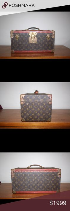 VINTAGE AUTHENTIC LOUIS VUITTON TRAIN CASE LUGGAGE This was given to me by my grandmother 32 years ago. Tons of history behind this. Never tried to clean because I was informed not to. Comes with two keys and the lock works great! Feel free to ask any questions and make any offers. Peace and love. Bags Travel Bags